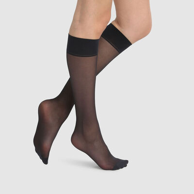 Green by Dim pack of 2 black semi-opaque knee-high socks 100% recycled thread 25D, , DIM