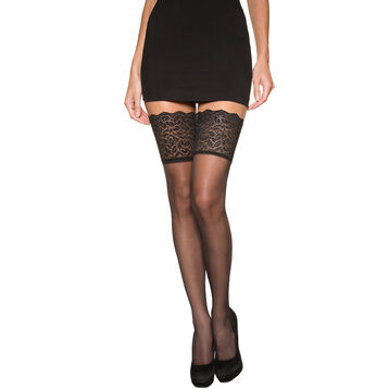 Black DIM Up Sexy 15 hold ups with wide lace tops, , DIM
