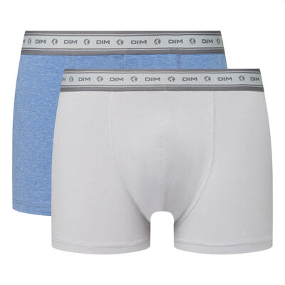 Green by Dim pack of 2 men's organic stretch cotton trunks in steel grey and midnight blue, , DIM