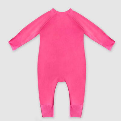 Dim Baby Pink organic cotton baby pyjamas with zipper, sunny heart print, , DIM