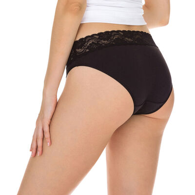 Pack of 2 pairs of Coton Plus Féminine midi knickers in black, , DIM