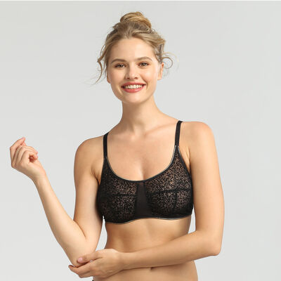 Chic Line precious black tulle and velvet bra, , DIM