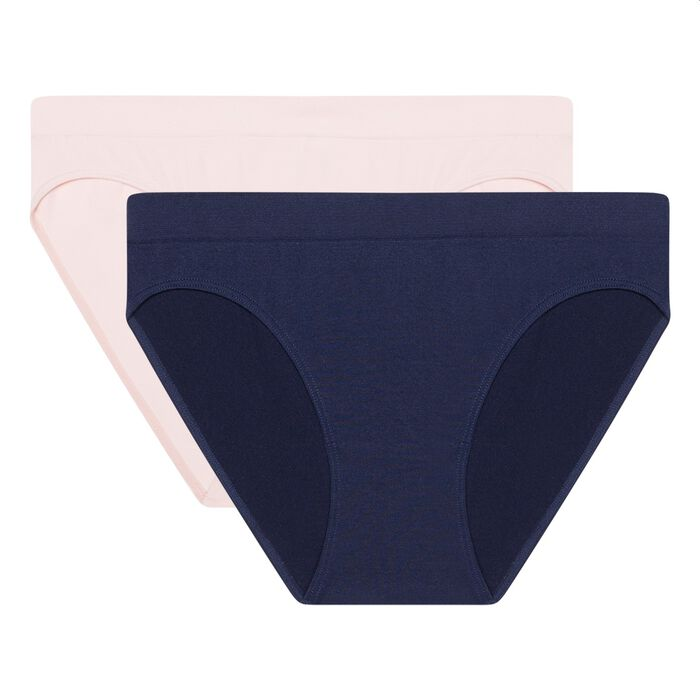 EcoDim Les Pockets pack of 2 seamless microfibre briefs blue/pink, , DIM