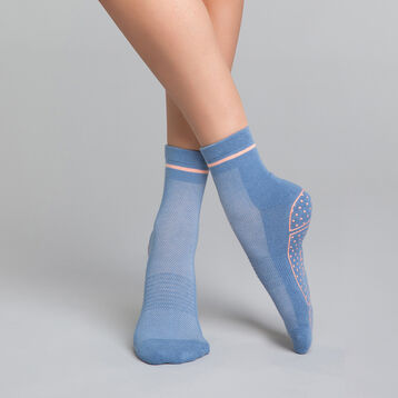 Low impact mottled blue and pink yoga socks - Dim sport, , DIM