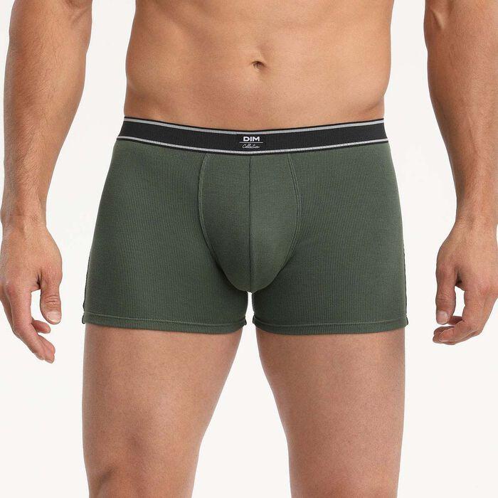 Dim Elegant Men's khaki boxer briefs in ribbed modal cotton with retro style look, , DIM