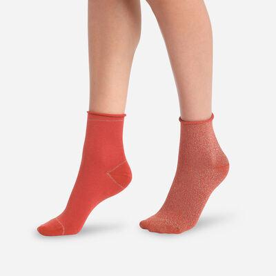 Lot de 2 paires de socquettes femme Rouille Lurex Or Coton Style, , DIM