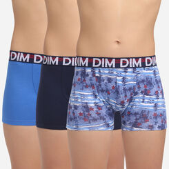 Eco Dim 3D 3 pack sailor blue stretch cotton trunks Dim Boy, , DIM