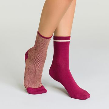 2 pack burgundy and gold women's socks with striped lurex, , DIM