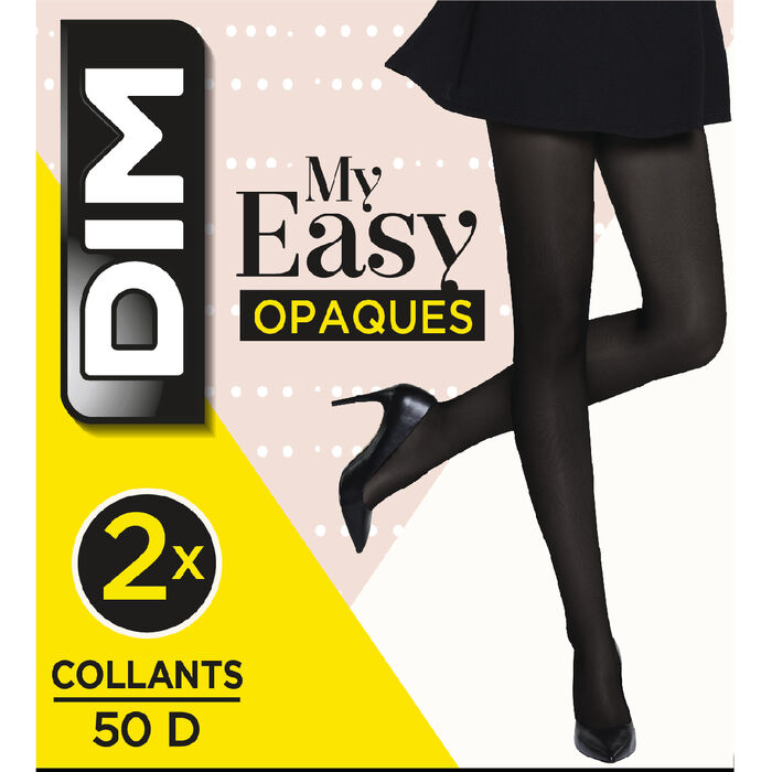 2-pack of 50 opaque black  tights DIM My Easy, , DIM