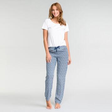 White pyjama pants with floral print - Fashion, , DIM