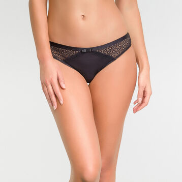 Women's black lace knickers - Dim Daily Glam Trendy Sexy, , DIM
