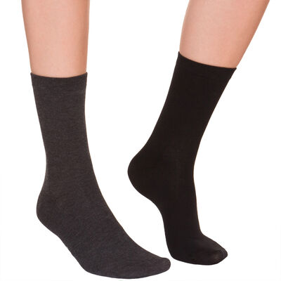 Pack of 2 pairs of charcoal & black mid calf socks for women, , DIM