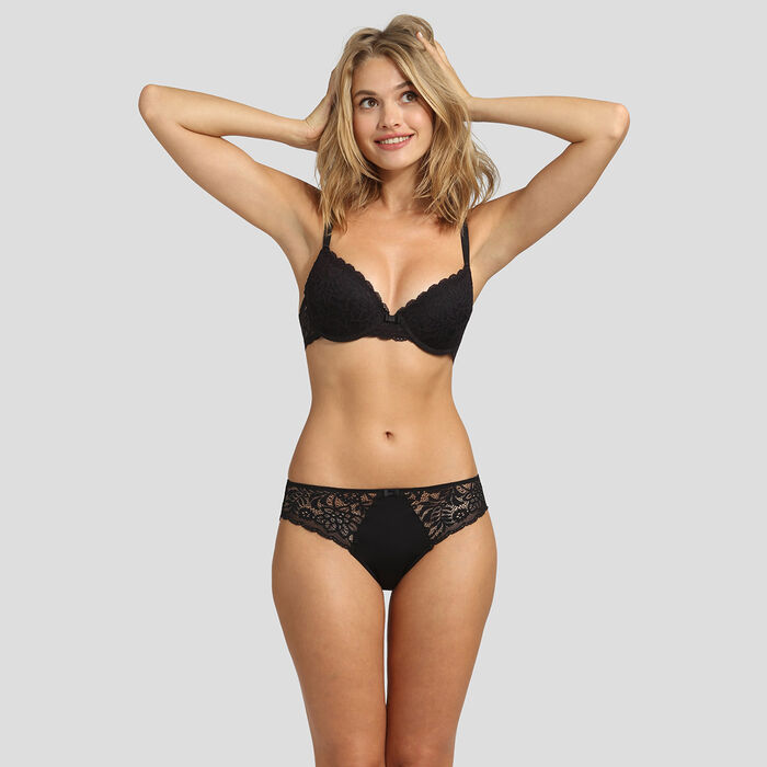 Lace black push-up balconette bra Dim Sublim , , DIM
