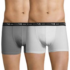 Set of 2 DIM Coton Stretch anthracite and white boxers - DIM