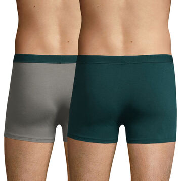 Lot de 2 boxers Coton Stretch Gris Métal et Vert Pacific Soft Power, , DIM