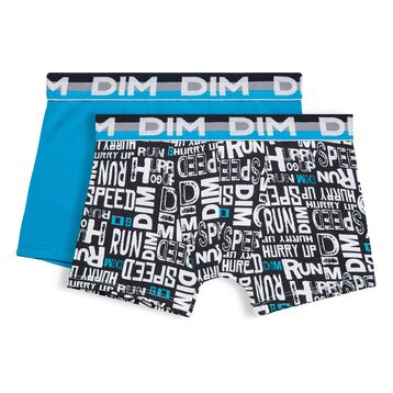 Set of 2 Eco DIM Boy blue and black-print boxers - DIM