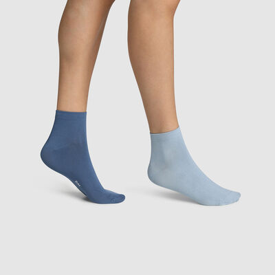 Pack of  2 pairs of women's socks in Blue Microfibre Midnight Dim Skin, , DIM