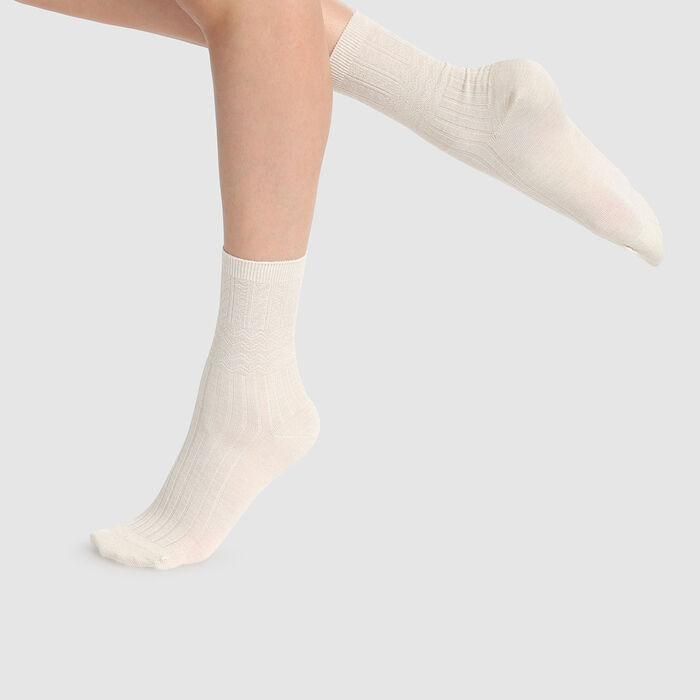 Dim Laine women's warm textured wool socks Ivory , , DIM