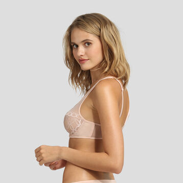 Underwired pink skin embroidered bra Generous Mod by Dim, , DIM