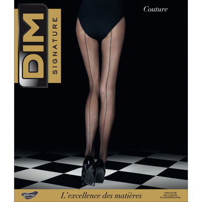 Black DIM Signature Couture 20 tights with back seam, , DIM