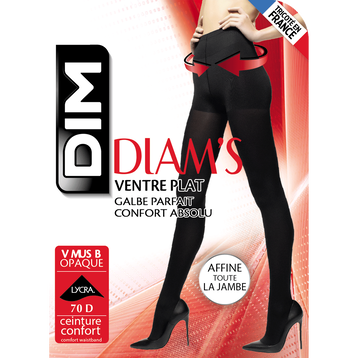 Collant ventre plat noir ultra opaque Diam's 67D-DIM