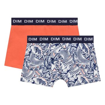 2 pack salmon and printed blue trunks - Box Hawaï, , DIM