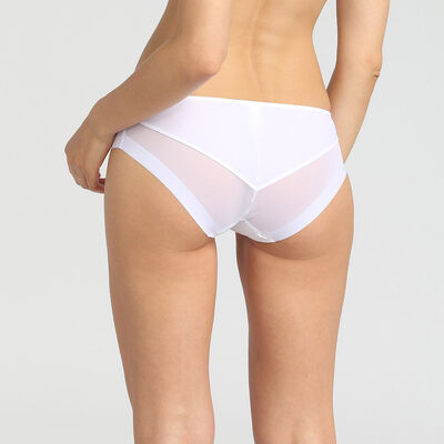 Dim Generous white microfibre and tulle briefs, , DIM