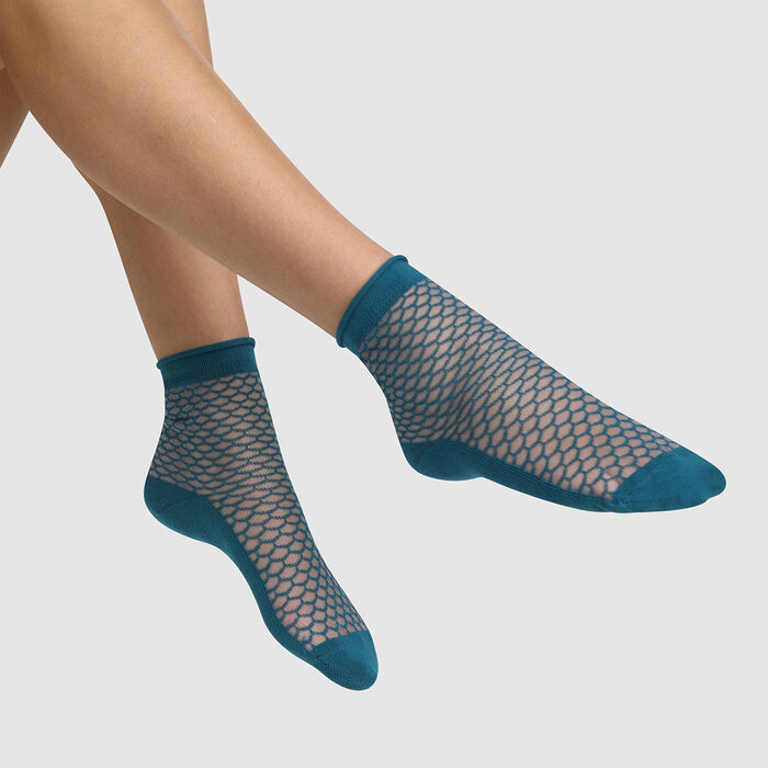 Women's cotton sock with transparent tortoiseshell motif Blue Made in France, , DIM