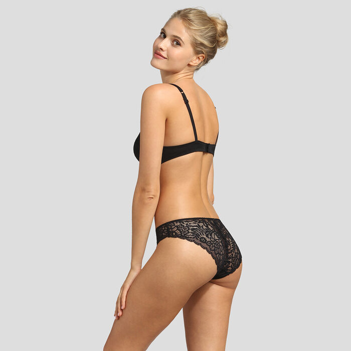 Sujetador triangular negro push-up Sublim Dentelle de Dim, , DIM