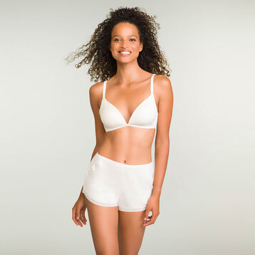 Padded pearly white triangle bra in cotton Softly Line, , DIM