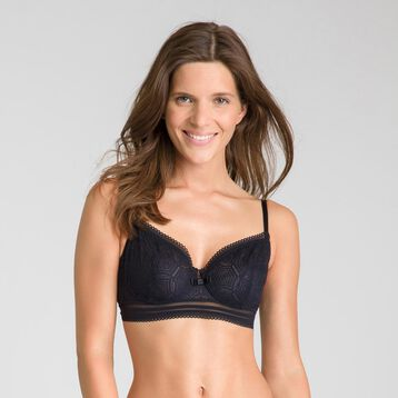 Daily Glam black lace demi-cup bra - DIM