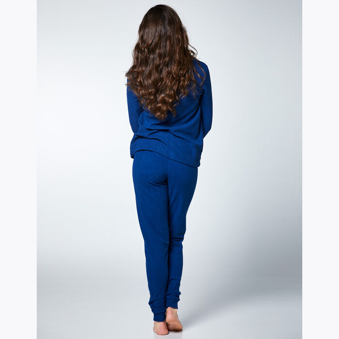Women's pyjama set in Blue fleece, , DIM