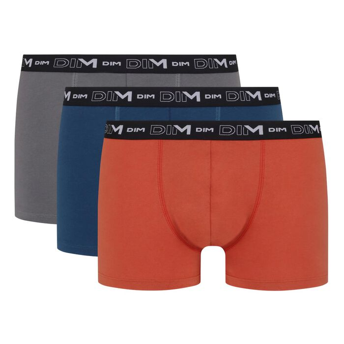 Pack of 3 men's stretch cotton trunks Red Blue Grey Volcano Dim, , DIM