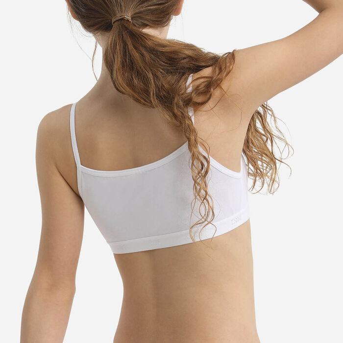 Pack of 2 Girls' Stretch Cotton Bras  in Black White Basic Cotton, , DIM