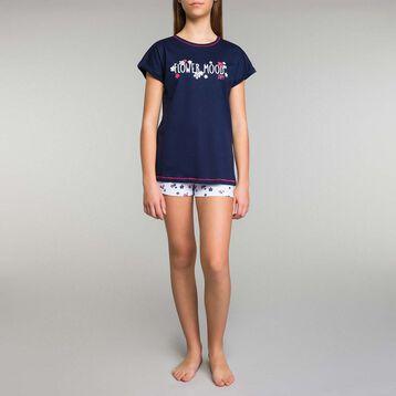 Blue pyjama set with floral printed shorts Dim Girl - Stripes, , DIM