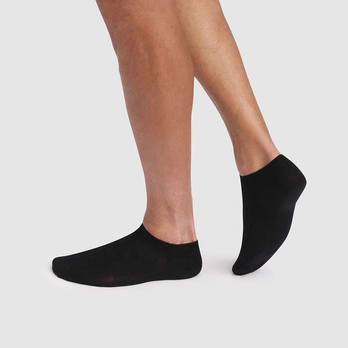 Lot de 2 paires de socquettes courtes noires hommes fil d'Écosse, , DIM