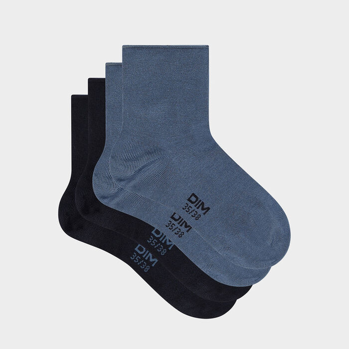 Pack of  2 pairs of women's socks cotton modal socks Navy Blue Dim Modal, , DIM