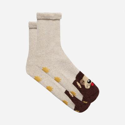 Kids Cocoon grey non-slip sock with dog design, , DIM