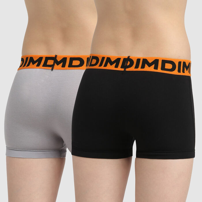 Dim set of 2 boys' fox orange stretch cotton boxers with burger print, , DIM