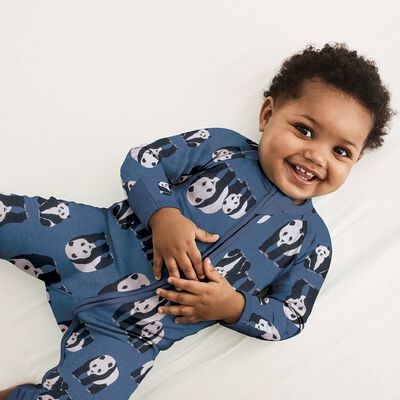 Blue Panda Print Cotton Stretch Zipped Pyjama Dim Baby, , DIM