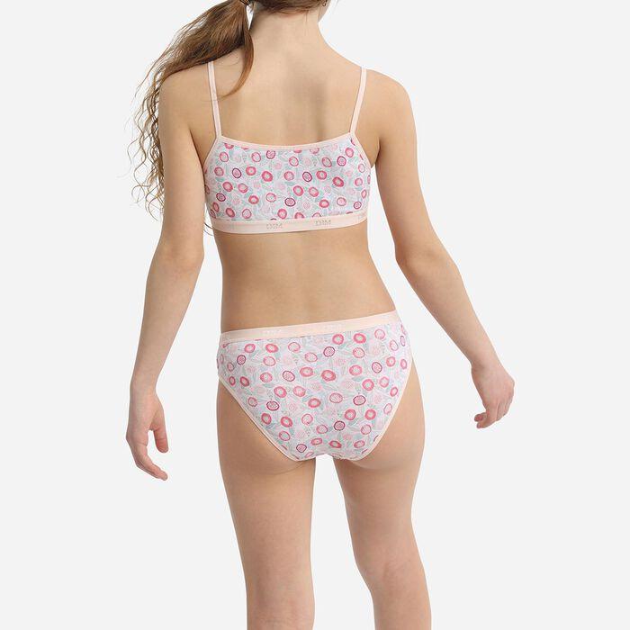 Lot de 3 brassières fille coton stretch motifs fleurs Rose Les Pockets, , DIM