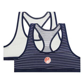 2-pack blue stripes and white sport bra for Girl  - Box Japon, , DIM
