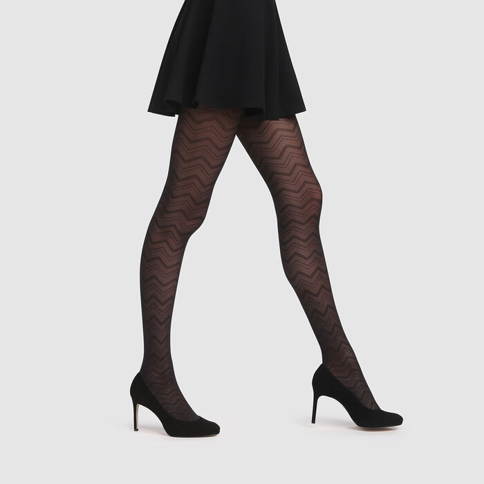Black mesh tights with graphic herringbone pattern Dim Style 20D, , DIM