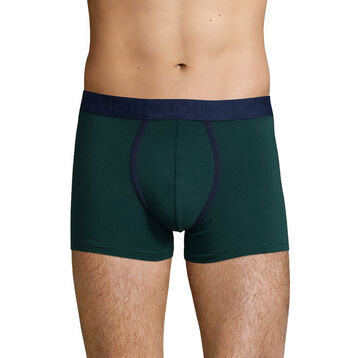 Men's stretch cotton trunks in Pacific Green Mix & Fancy, , DIM