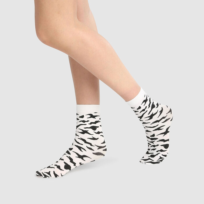 Dim Style 58D fancy opaque ankle socks with zebra print, , DIM