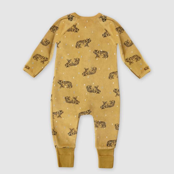 Dim baby Tiger pattern yellow Velvet pyjamas with two-way zip, , DIM
