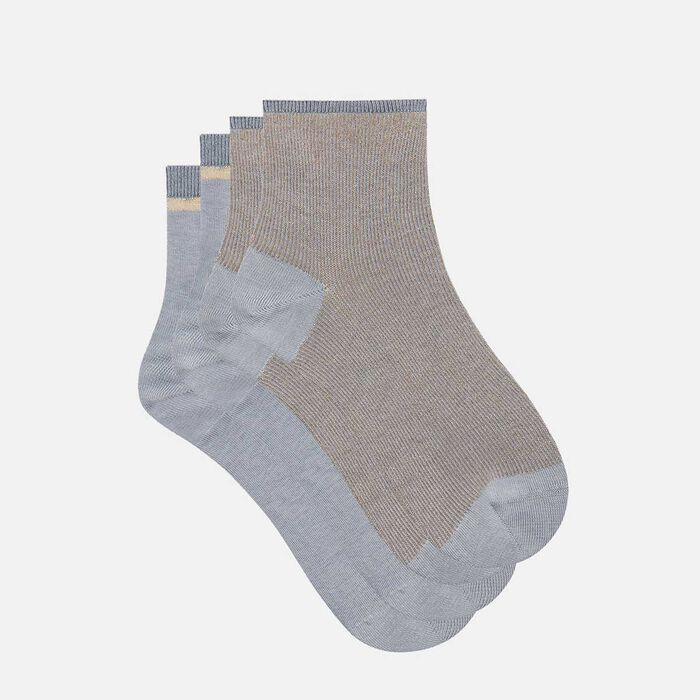 Cotton Style 2 pack fancy ankle socks in grey and gold lurex, , DIM