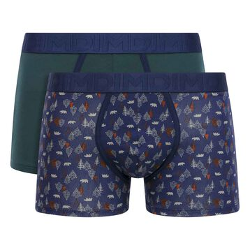 2 Pack cotton trunks Forest Print and Pacific Green Mix & Fancy, , DIM