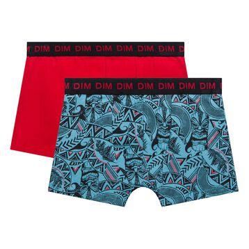 2 pack acqua and red trunks - dim boy, , DIM
