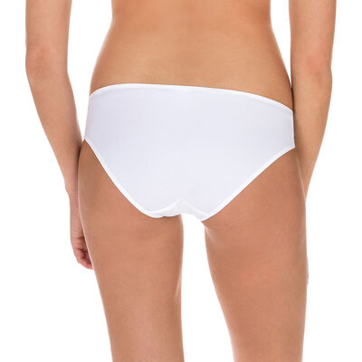 Generous Mod embroidered bikini knickers in white, , DIM